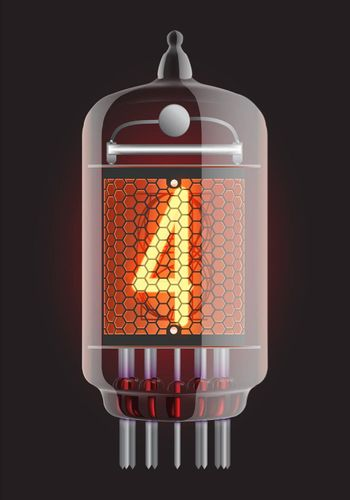 Nixie tube indicator. The number four of retro, Transparency guaranteed. Vector illustration.