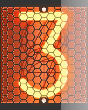 Nixie tube indicator. The number three of retro, Transparency guaranteed. Vector illustration.