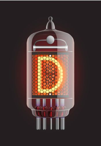 """Nixie tube indicator. Letter """"D"""" from retro, Transparency guaranteed. Vector illustration."""