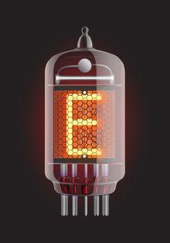"Nixie tube indicator. Letter ""E"" from retro, Transparency guaranteed. Vector illustration."