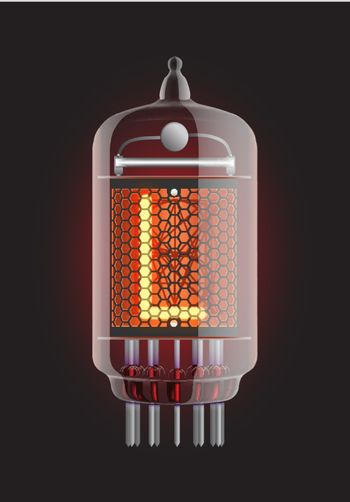 """Nixie tube indicator. Letter """"L"""" from retro, Transparency guaranteed. Vector illustration."""