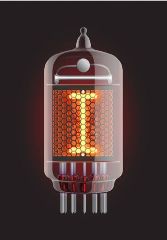 "Nixie tube indicator. Letter ""I"" from retro, Transparency guaranteed. Vector illustration."