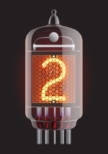 Nixie tube indicator. The number two of retro, Transparency guaranteed. Vector illustration.