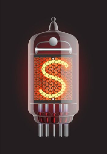"""Nixie tube indicator. Letter """"S"""" from retro, Transparency guaranteed. Vector illustration."""