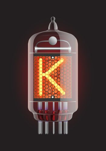 """Nixie tube indicator. Letter """"K"""" from retro, Transparency guaranteed. Vector illustration."""