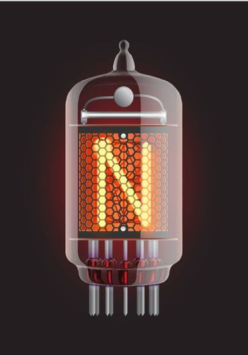 """Nixie tube indicator. Letter """"N"""" from retro, Transparency guaranteed. Vector illustration."""