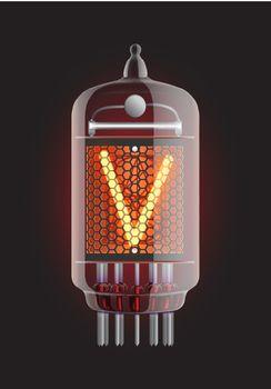 "Nixie tube indicator. Letter ""V"" from retro, Transparency guaranteed. Vector illustration."