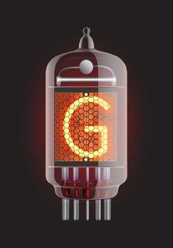 """Nixie tube indicator. Letter """"G"""" from retro, Transparency guaranteed. Vector illustration."""