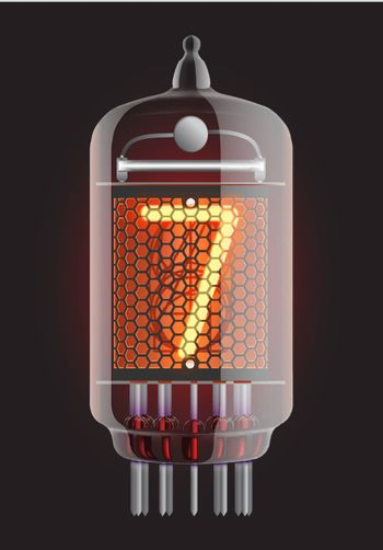 Nixie tube indicator. The number seven of retro, Transparency guaranteed. Vector illustration.