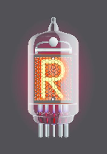 """Nixie tube indicator. Letter """"R"""" from retro, Transparency guaranteed. Vector illustration."""