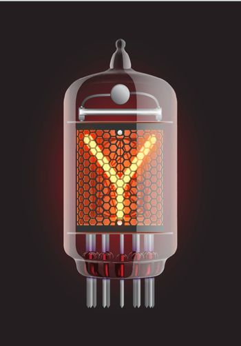 "Nixie tube indicator. Letter ""Y"" from retro, Transparency guaranteed. Vector illustration."