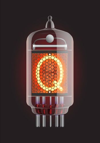 "Nixie tube indicator. Letter ""Q"" from retro, Transparency guaranteed. Vector illustration."