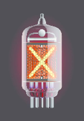 "Nixie tube indicator. Letter ""X"" from retro, Transparency guaranteed. Vector illustration."