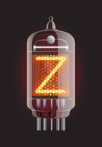 "Nixie tube indicator. Letter ""Z"" from retro, Transparency guaranteed. Vector illustration."