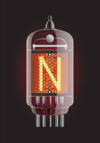 "Nixie tube indicator. Letter ""N"" from retro, Transparency guaranteed. Vector illustration."