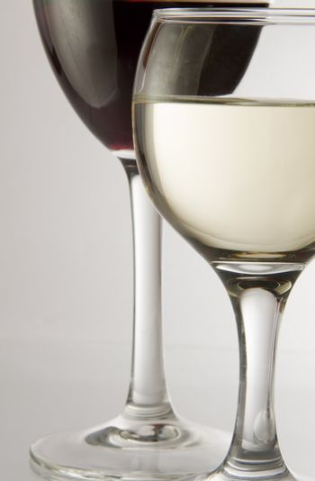 Red and White wine in two wineglass.