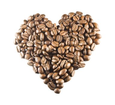 A love heart made from coffe beans