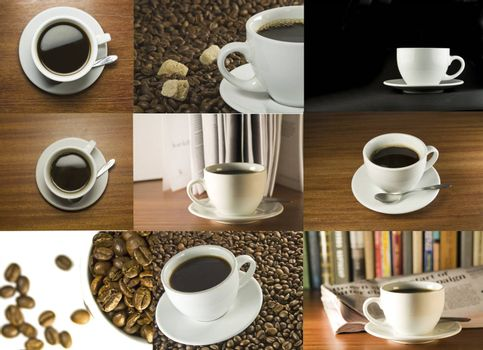 coffee cup and beans set