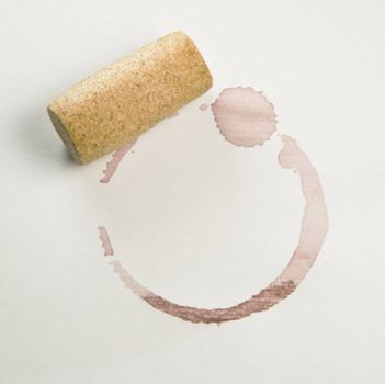 Cork and red wine stain