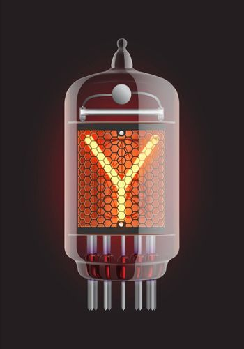 """Nixie tube indicator. Letter """"Y"""" from retro, Transparency guaranteed. Vector illustration."""