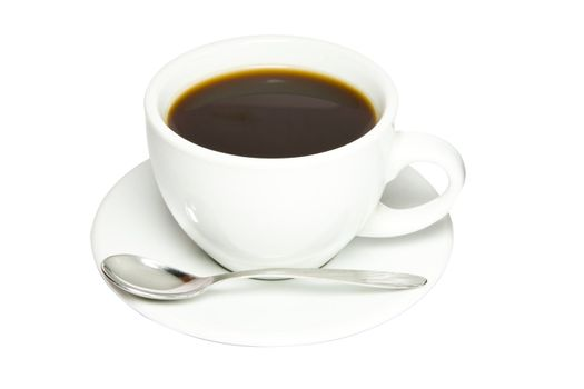Picture of black coffee in a white cup.