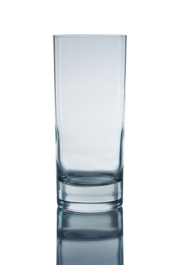 Glass on white background with reflection.
