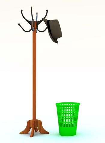 floor peg with a hat and refuse bin