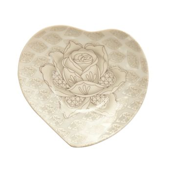 Color plate with roses on a white background