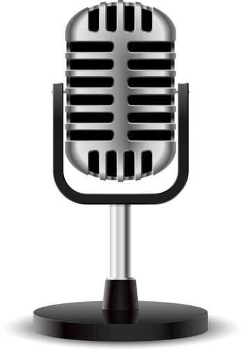 Realistic retro microphone. Second edition. Illustration on white
