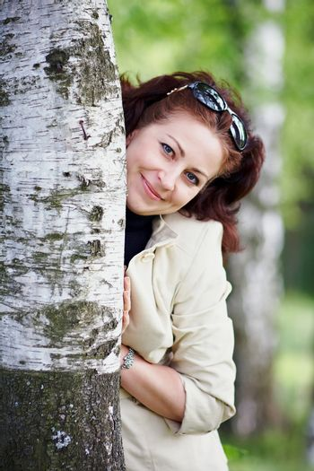 Woman with a birch