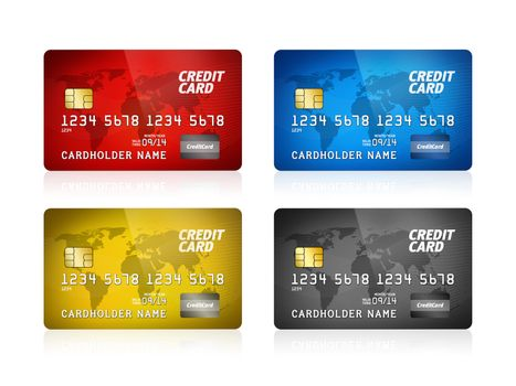 Pack of high detail illustration of a plastic credit card. Isolated on white. Map from: http://www.lib.utexas.edu/maps/world.html