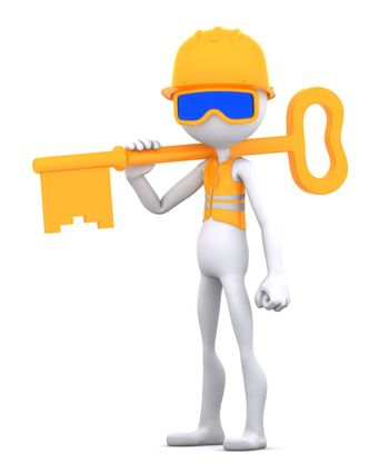 Construction worker with key. Isolated