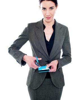 Business lady destroying debit card