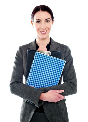 woman posing with clipboard