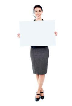 Telemarketing female with blank billboard