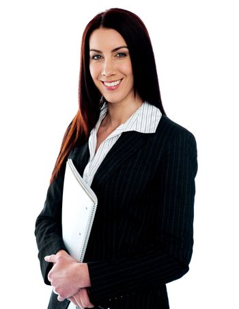 Smiling young corporate posing with spiral notepad