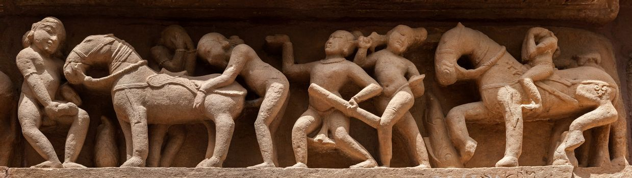 Panorama of erotic bas relief, Khajuraho, India