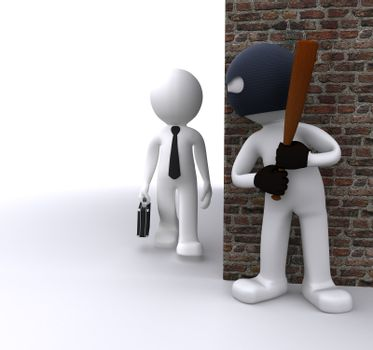 Bandit robbing a businessman