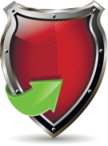 illustration of an abstract metallic red shield