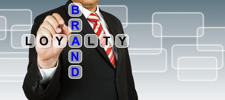 Businessman hand drawing Brand Loyalty