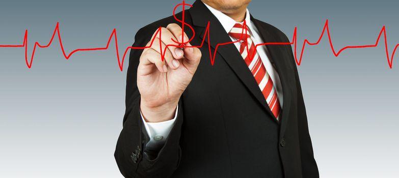 Businessman draw a pulse