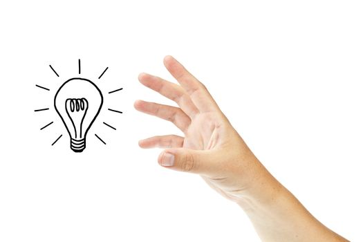 Hand with lightbulb isolated on white background