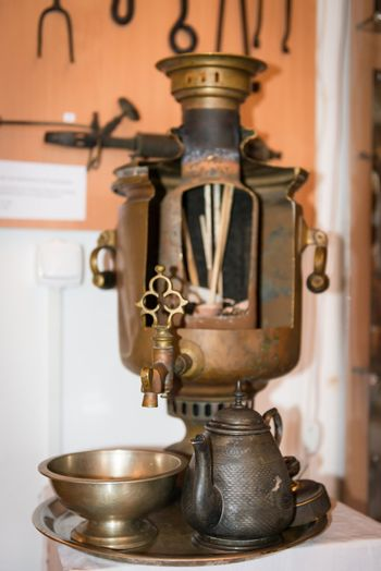 Old russian samovar with internal contents