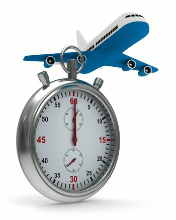 Stopwatch and airplane on white background. Isolated 3D image
