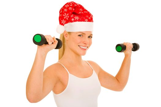 woman with Santa Hat lifts weights