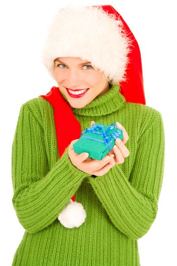 woman with gift and Santa Hat