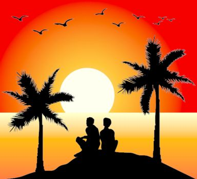 vector romantic couple at the sunset