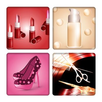 Beauty and fashion templates with woman accessories