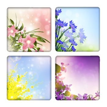 Collection with different flowers backgrounds
