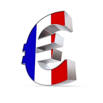 Shiny Euro Symbol - Textured Front - Flag of France